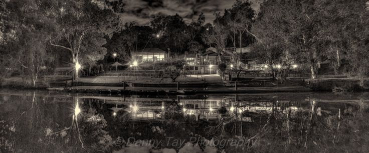 Studley Park Boathouse (B&W) @ night