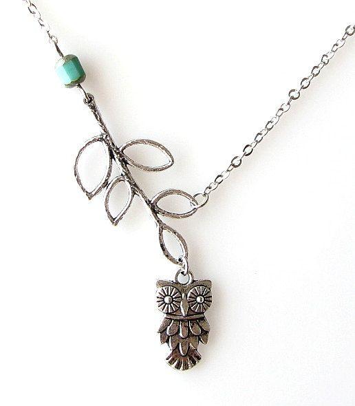 silver owl necklace leaf necklace owl jewelry by KriyaDesign