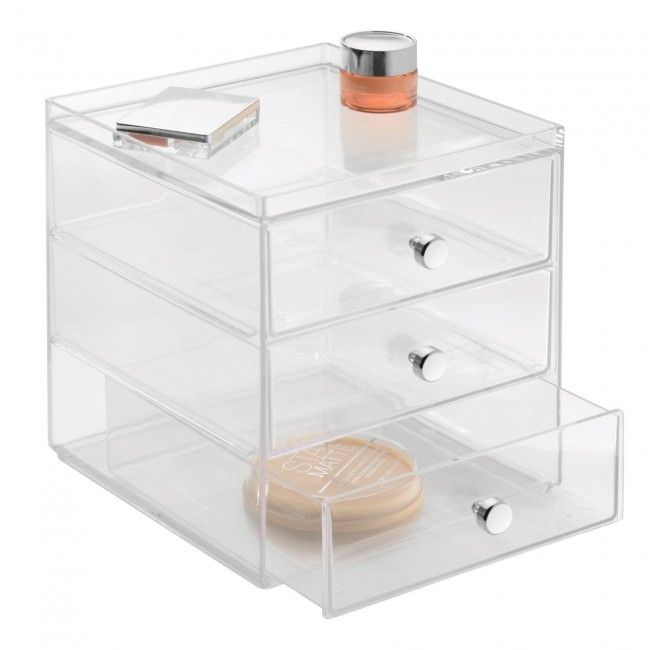 Store all your cosmetics in a handy InterDesign Clarity 3-Drawer Cosmetic Organizer. Multiple storage compartments make it easy to organize all your cosmetics.