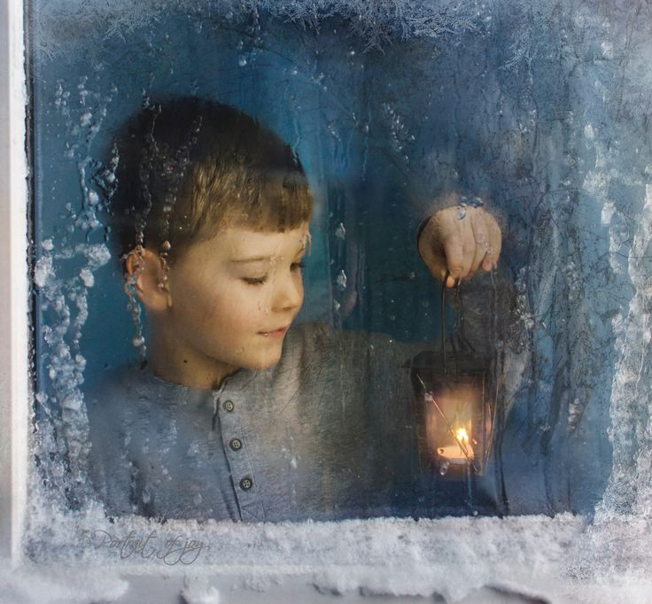 When it's cold outside, snow and ice on the window..perfect time for a beautiful picture