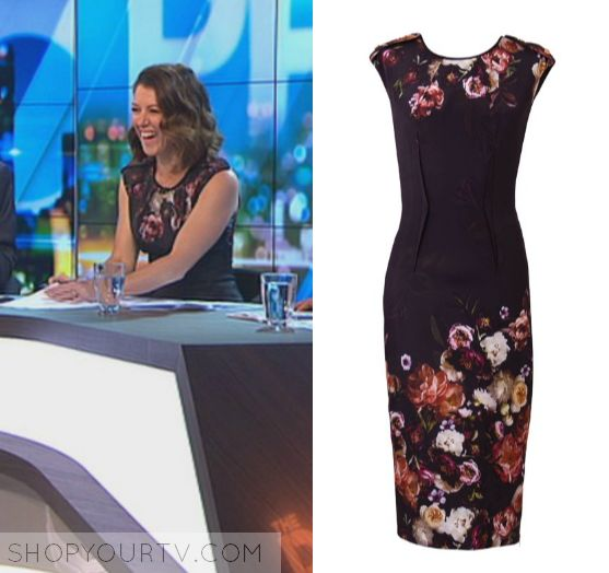 The Project: April 2017 Gorgi's Floral Printed Dress | Gorgi Coghlan wears this black floral sleeveless bodycon midi dress in this episode of The Project on Monday the 17th April 2017.  It is the Ginger & Smart Liaison Dress.