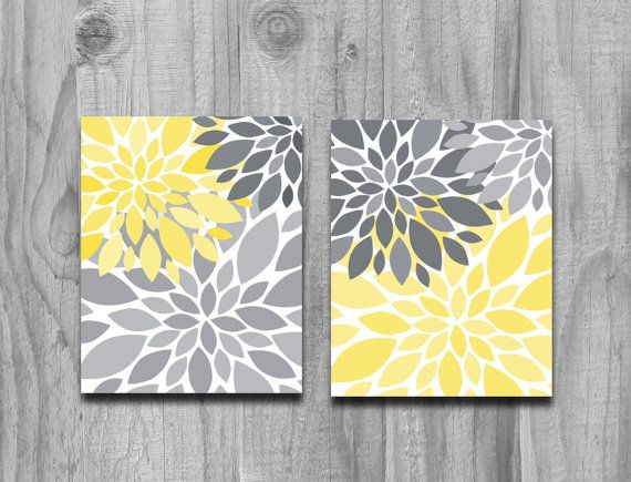 Yellow gray flower petals burst canvas or print set home for Cadre floral mural