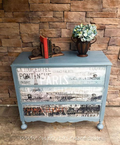 comò upcycled con decal francese, mobili dipinti, riutilizzo upcycling