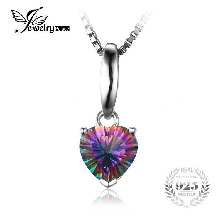 Jewelrypalace 1.5ct corazón genuino rainbow fuego místico topacio colgante esterlina del sólido 925 de plata la joyería para la muchacha sin una cadena