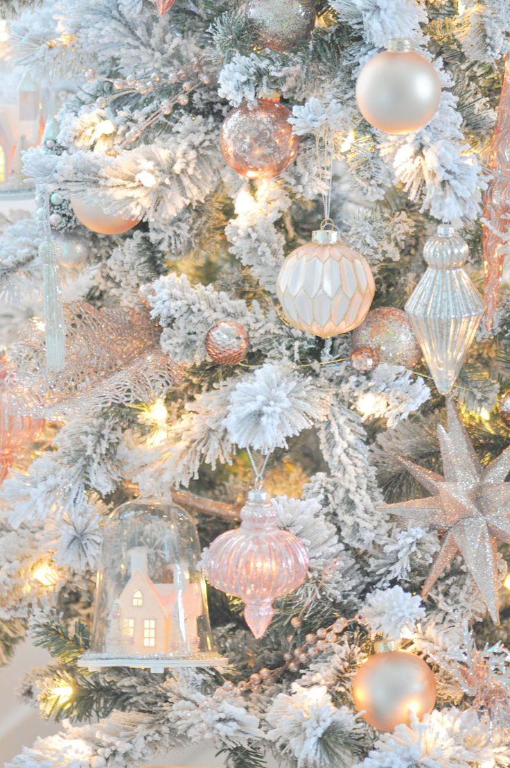 Blush pink vintage inspired tree christmas gold - Blush pink christmas decorations ...