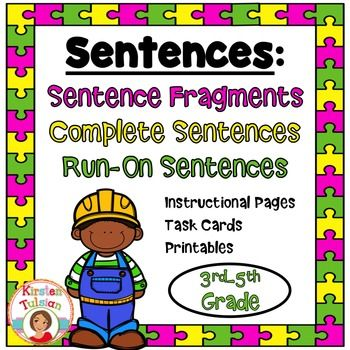 Run-On+Sentences,+Sentence+Fragments,+and+Complete+Sentences+-This+Sentences+product+for+3rd-5th+grade+includes+SIX+instructional+pages+that+delineate+the+difference+between+a+run-on+sentence,+a+complete+sentence,+and+a+sentence+fragment+(and+includes+examples+of+each).