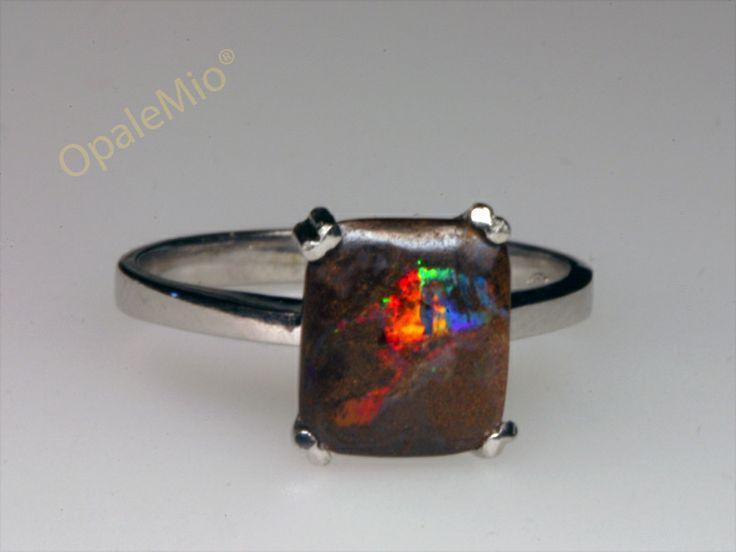 Anello con opale nero boulder australian natural boulder silver ring minerals gems jewellery