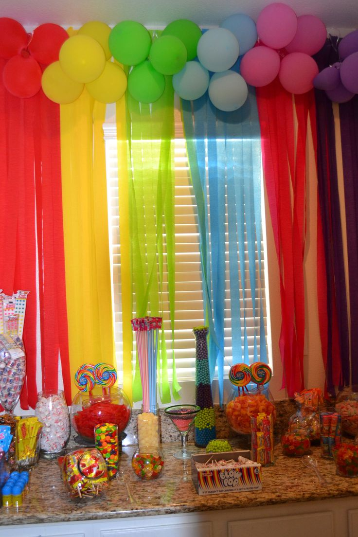 Rainbow Candy Bar Candyland Party Sweet16 Sweet 16