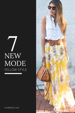53796a3ba9b20 Chic Yellow Blossoming Floral Chiffon Maxi Skirt in 2019 | Outfit ...