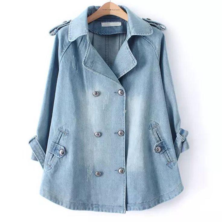 Осень зима деним мыс куртка женщины пиджаки 3/4 рукав отложным вниз воротник двубортная джинсы длинная платье пальто
