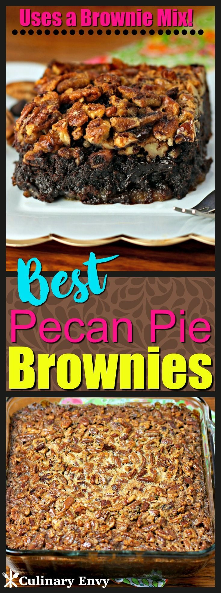 These Best Pecan Pie Brownies are fudgy brownies topped with a crunchy, nutty, buttery brown sugar pecan pie topping that create the perfect gooey dessert. Click to read more! #dessertfoodrecipes