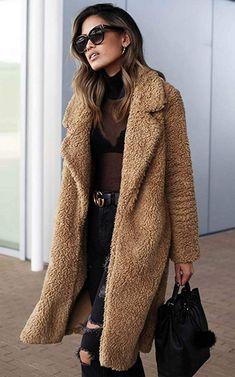 Angashion Women's Fuzzy Fleece Lapel Open Front Long Cardigan Coat |Winter O…