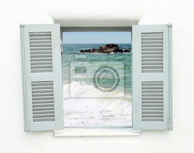 Wall Mural Greek style window with sea view