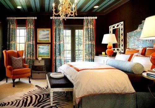 Orange orange orange.: Orange, Color Schemes, Color Combos, Zebras Rugs, Master Bedrooms, Brown Wall, Design, Bedrooms Ideas, Dark Wall