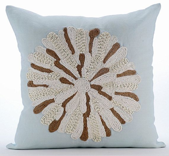 Flower Bud - 16x16 Jute Cord & Bead Embroidered Light Blue Linen Throw Pillow