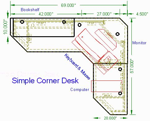 Simple Corner Desk top view --  http://woodwaredesigns.com/simpledesks/simplecorner50.html# | Inside the  Home | Pinterest | Desk plans, Desks and Woodworking