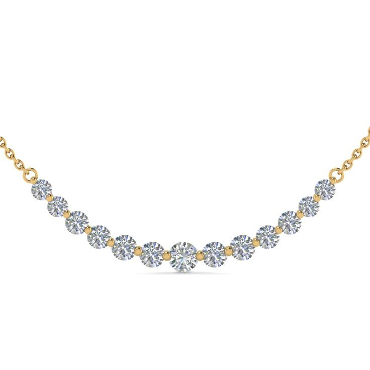 1 Carat Round Graduated Diamond Necklace Gifts For Her In 18K Yellow Gold