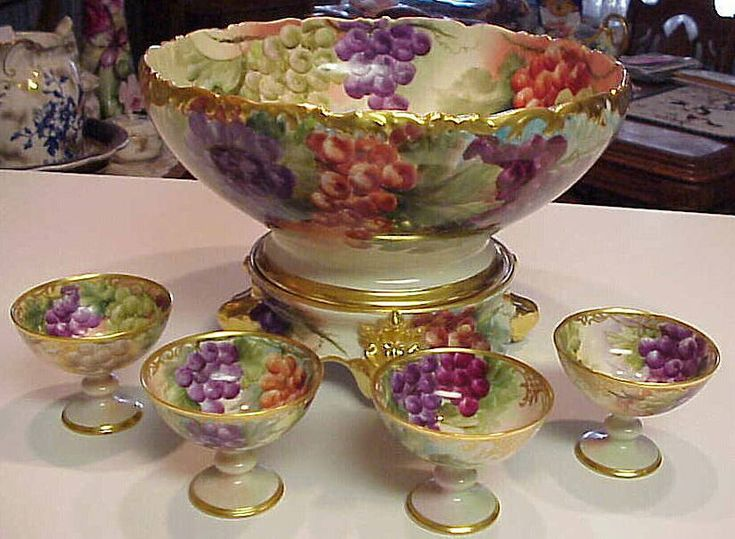 Tressemann & Vogt Hand Painted Limoges Punch Bowl Set    c.1905