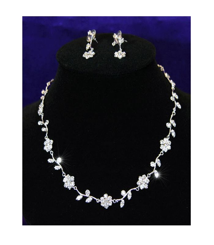 Emily - Austrian Crystal Floral Necklace and Earring Set - http://lily316.com.au/shop/bridal/emily-bridal-crystal-flower-necklace-earring-set/