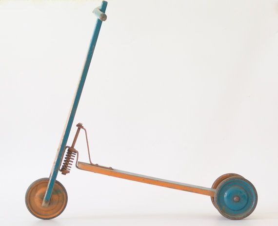 Antique children's scooter, made of wood and metal, blue & yellow