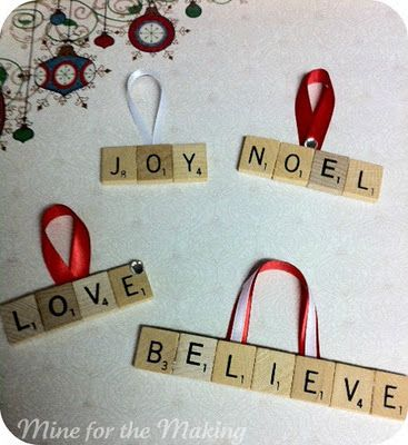Scrabble letter ornaments. If only I had some scrabble tiles. Mom loves this game and it would be fun to make her a bunch for Christmas.