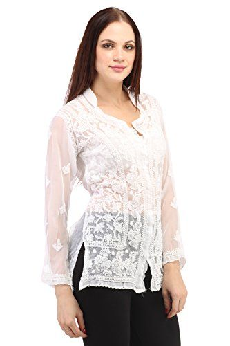 Indiankala4u Chikan Hand Embrodery Georgette Top/Tunic White - The Ultimate Shopping Portal