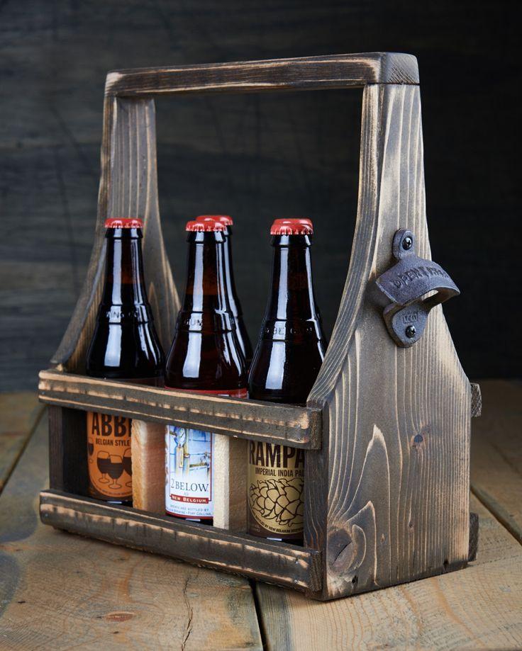 Handmade Beer Carrier Beer Tote Wooden Craft Beer Natural Reclaimed Reused Cedar Wood Dark Espresso Stain with a Soft Curve 6-12 oz bottles