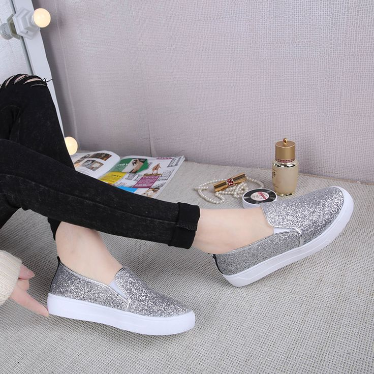 $35.88 (Buy here: https://alitems.com/g/1e8d114494ebda23ff8b16525dc3e8/?i=5&ulp=https%3A%2F%2Fwww.aliexpress.com%2Fitem%2F2016-Chaussure-Femme-Platform-Loafers-Fashion-Bling-Glitter-Women-Shoes-Women-Slip-On-Flats-Ladies-Creepers%2F32637682155.html ) 2016 Chaussure Femme Platform Loafers Fashion Bling Glitter Women Shoes Women Slip On Flats Ladies Creepers Hot Silver Shoes for just $35.88