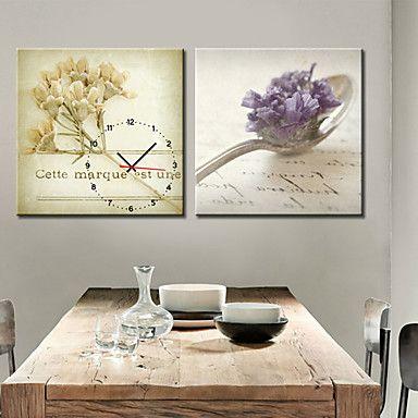 現代アートなモダン キャンバスアート 絵 壁 壁掛け 時計  壁時計 スプーン ウェディング 引き出物 ドライフラワー 植物【納期】お取り寄せ2~3週間前後で発送予定【送料無料】ポイント