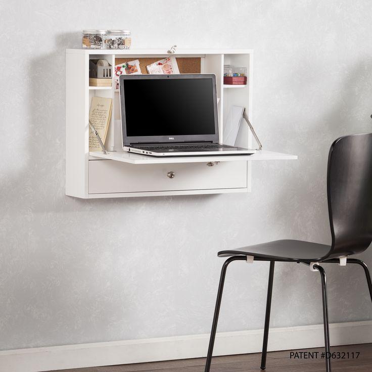 Harper Blvd Florence Wall Mount Folding Laptop Desk White Ping