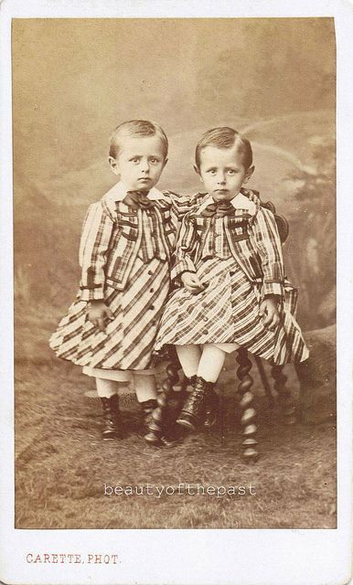 Identical Twins boys. 1880 - boys who were not potty trained yet, wore skirts. They graduated to knickers after that.