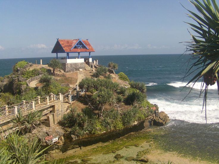 Kukup Beach, one of many beaches facing Indian Ocean at Wonosari, Central Java, Indonesia.