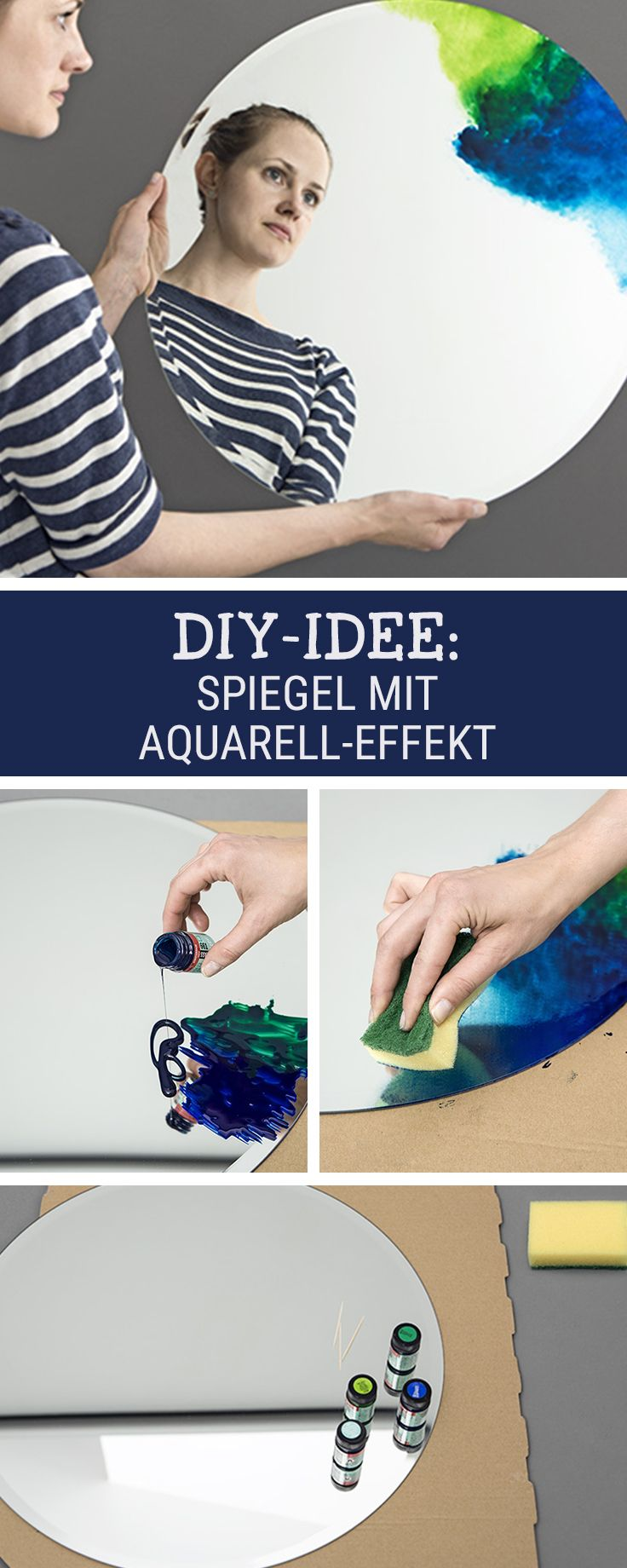 Wohn-DIY: So bastelst Du Dir einen Spiegel mit Aquarelleffekt / learn how to craft a mirror with a watercolor look via DaWanda.com