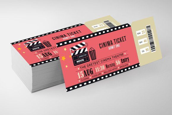 Cinema Ticket Print Templates Cinema Ticket Movie Ticket Template Ticket Printing