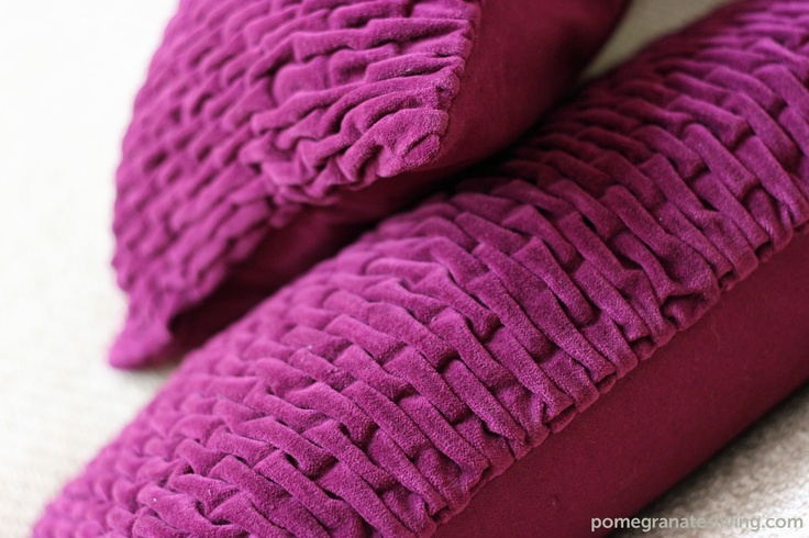 Capsule cushion with front in textured cotton velvet and reverse in plain cotton. Designed by Nitin Goyal and hand made in India. £55. http://www.pomegranate-living.com/capsule-cushion-in-fuschia-by-nitin-goyal.ir?cName=brands-nitin-goyal-cushions