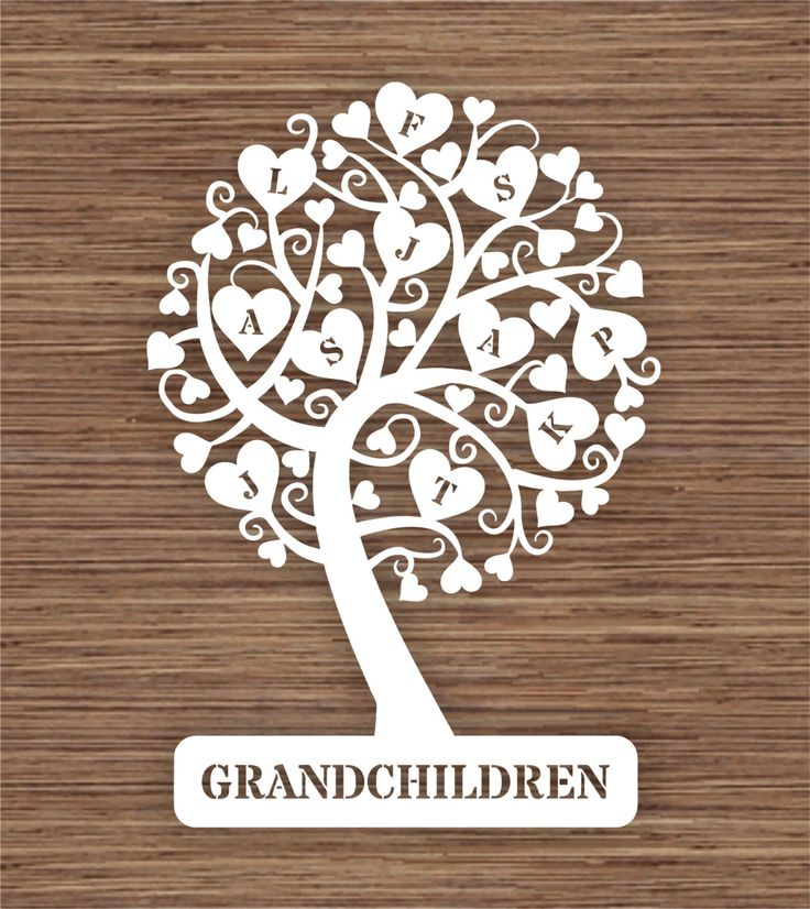 12 Name Natural Family Tree Design SVG / PDF - Papercutting/Vinyl ...