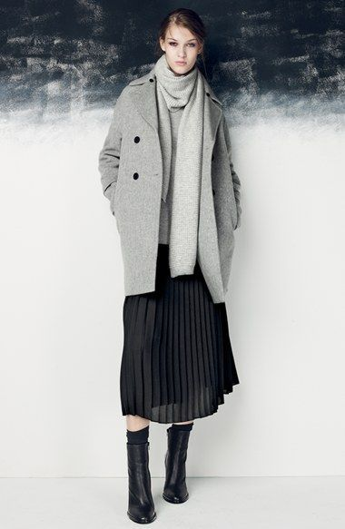 A grey coat and a black pleated midi skirt couldn't possibly come across as other than strikingly elegant. For the maximum chicness rock a pair of black leather booties.  Shop this look for $84:  http://lookastic.com/women/looks/scarf-ankle-boots-socks-midi-skirt-coat-turtleneck/7223  — Grey Scarf  — Black Leather Ankle Boots  — Black Socks  — Black Pleated Midi Skirt  — Grey Coat  — Grey Turtleneck
