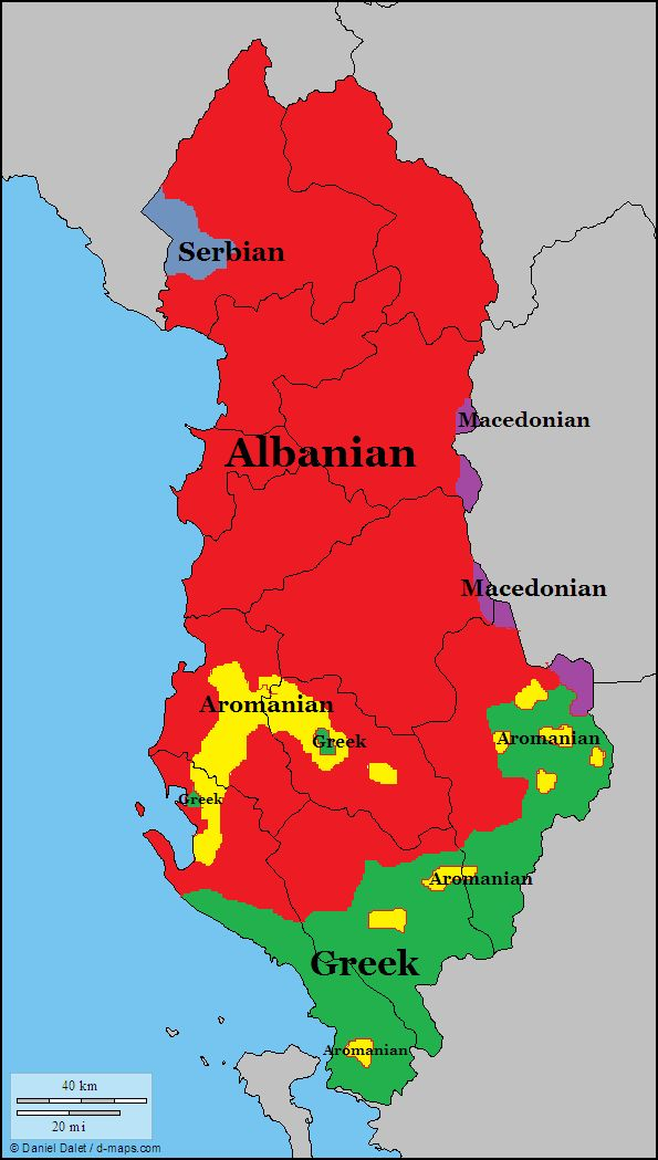 Languages Of Albania Map