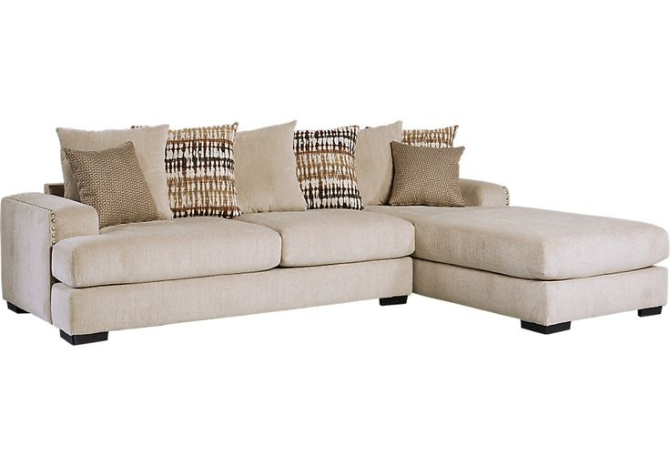 Doverton Beige 2 Pc Sectional.1055.0. 119W x 81D x 38H. Find affordable Living Room Sets for your home that will complement the rest of your furniture. #iSofa #roomstogo