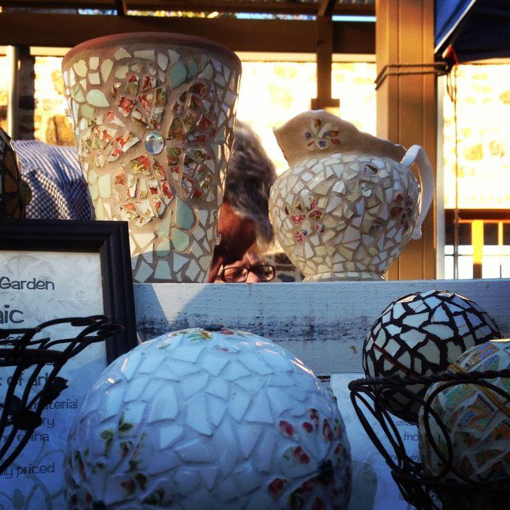 Mosaic handcrafted. Artisans at Greenock market. Barossa.