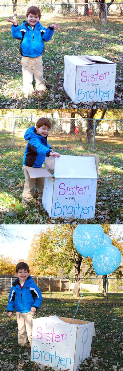 Sibling Gender Reveal Photo Idea, Boy or Girl, It's A Boy balloons