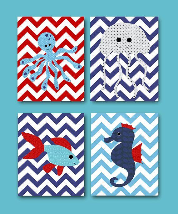 Kids wall art Seahorse Nursery Fish Nursery Octopus Nursery Baby Nursery Decor Baby Boy Nursery Baby Room Decor Nursery Print set of 4 8x10