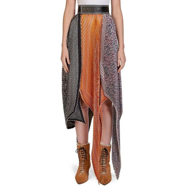 LOEWE Silk Pleated Skirt (40,840 MXN) ❤ liked on Polyvore featuring skirts, brown skirt, pull on skirts, loewe, knee length pleated skirt and silk skirt