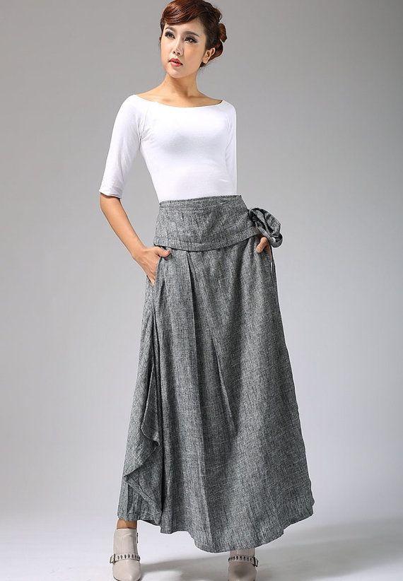 Long Wrap Maxi Skirt - Women Linen skirt in Gray Made to Measure with Asymmetrical Hem  (689)
