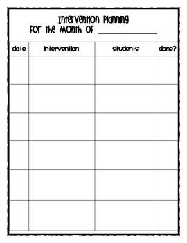 Included in this packet are documents that I use to keep myself organized for intervention.  There is an intervention small group planning sheet, a...