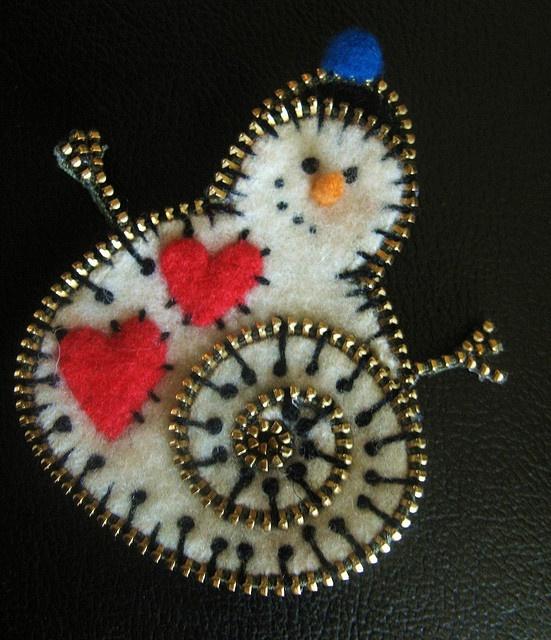 Zipper and felt snowman