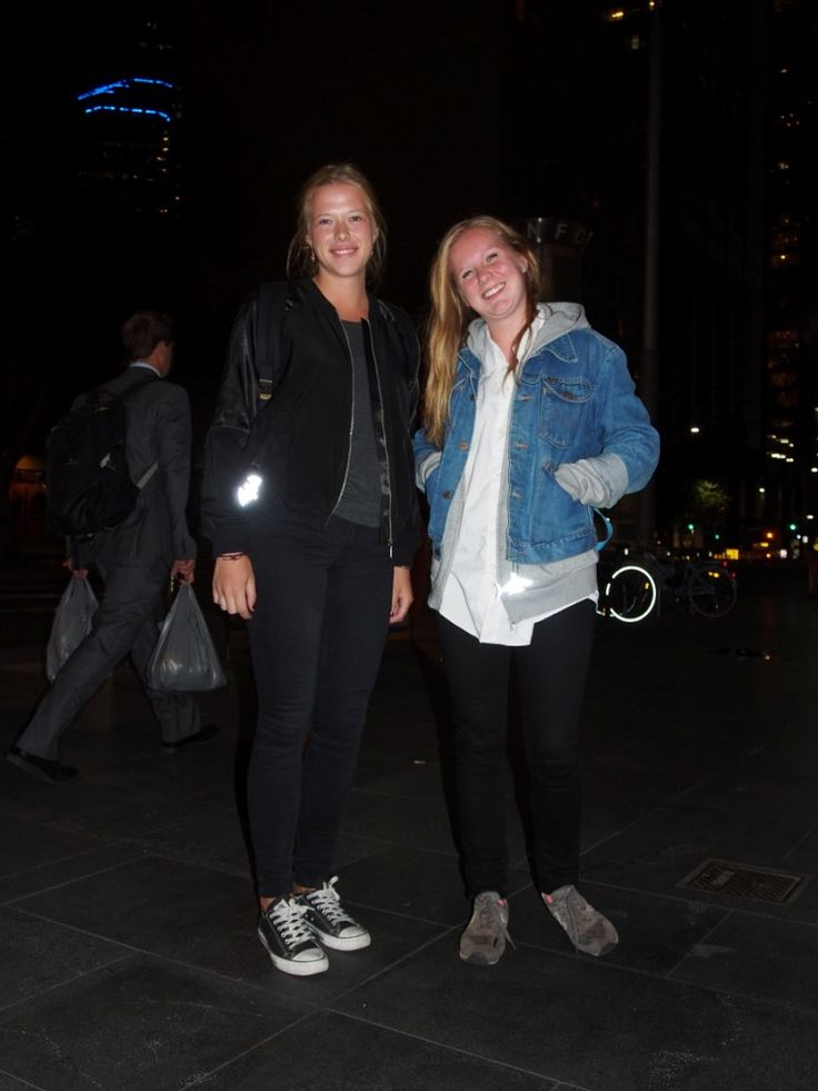 Sweet Swedish backpackers Mikaela and Evelina are enjoying the nightlife in Melbourne. To wear a reflector is a natural talent for a Swede!