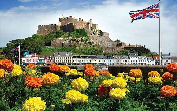 Mont Orgeuil castle in Gorey, Jersey, Chanel Islands .Built in the early 13th century