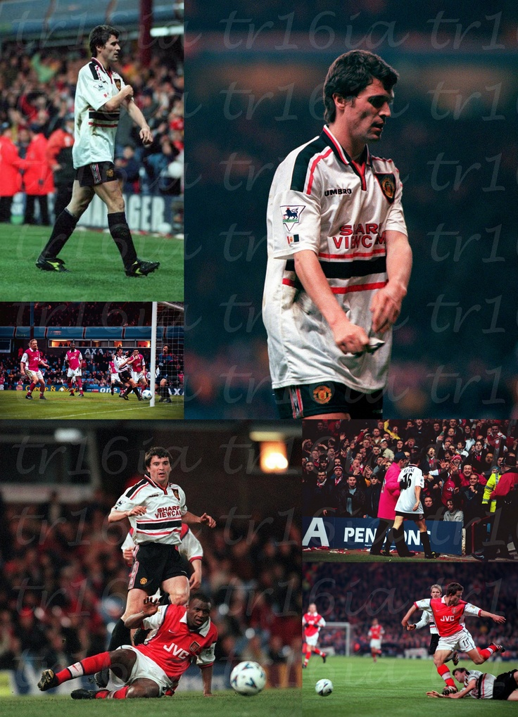 Photo Collage of the Day:  April 14 1999, Manchester United 2 - 1 Arsenal, FA Cup Semi Final Replay.  David Beckham and Ryan Giggs with the goals for United.  Roy Keane, who had earlier fouled Bergkamp, was shown his second yellow card for a scything late tackle on Marc Overmars with 17 minutes left.  Match report:   http://goo.gl/bF226