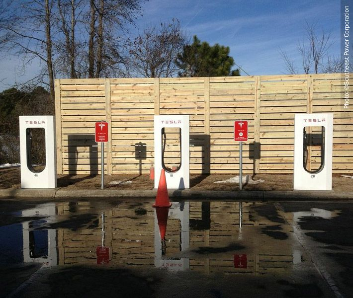 Tesla Charging Station Southeast Power subsidiary of Goldfield Corp $GV